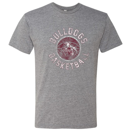 Mississippi State University Bulldogs Basketball Distress Next Level Short Sleeve T Shirt - Premium Heather