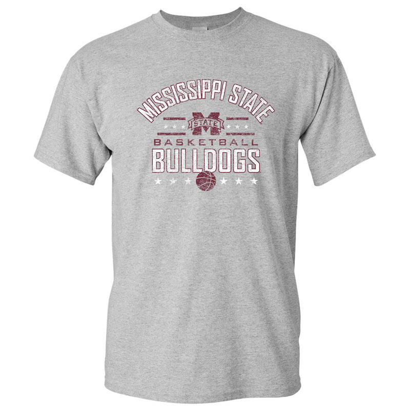 Mississippi State University Bulldogs Basketball Arch Stars Short Sleeve T Shirt - Sport Grey