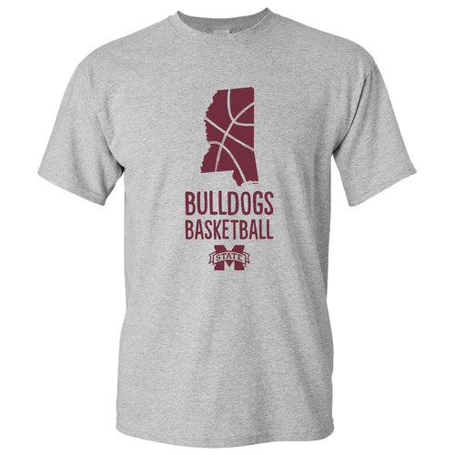 Mississippi State University Bulldogs Basketball Brush State Short Sleeve T Shirt - Sport Grey