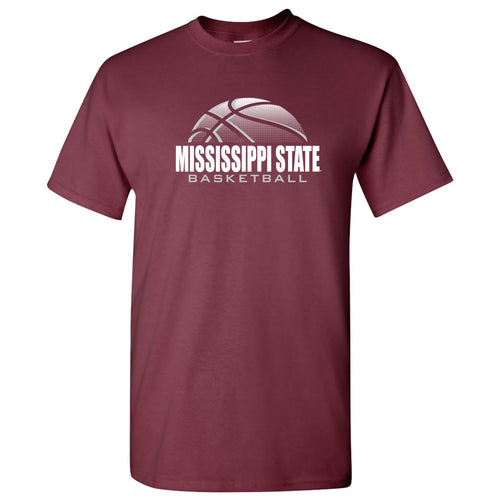 Mississippi State University Bulldogs Basketball Shadow Short Sleeve T Shirt - Maroon