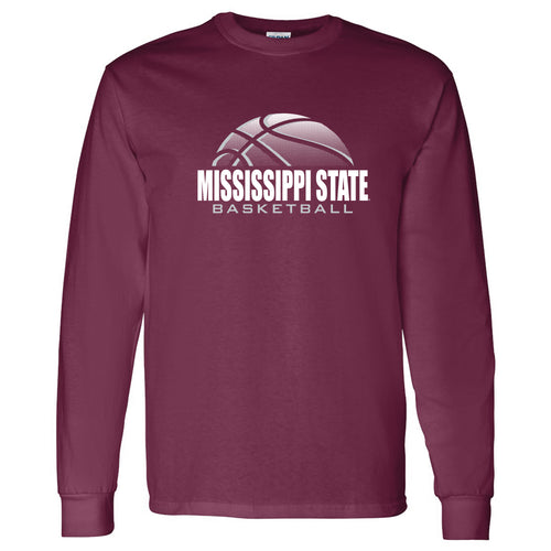 Basketball Shadow Mississippi State Bulldogs Heavy Cotton Long Sleeve T Shirt - Maroon