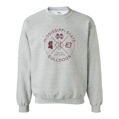 Mississippi State University Bulldogs Identity Stamp Crewneck - Sport Grey