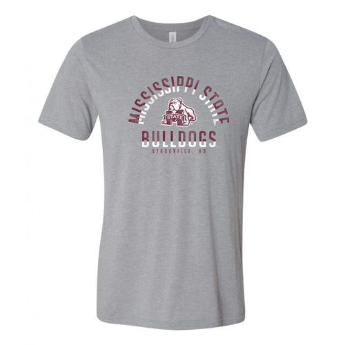 Mississippi State University Bulldogs Division Arch Canvas Short Sleeve T Shirt - Athletic Grey