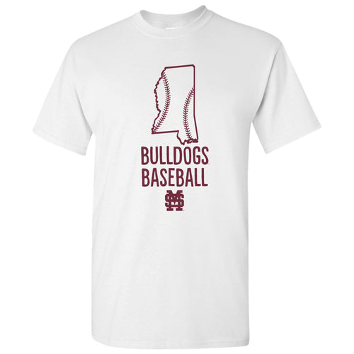 Mississippi State University Bulldogs Baseball Brush State Short Sleeve T Shirt - White