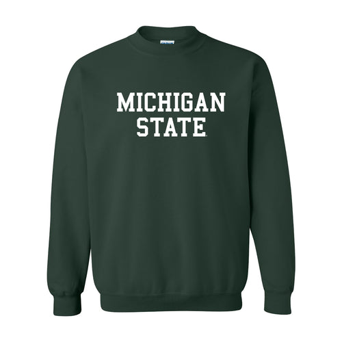 Michigan State University Spartans Basic Block Crewneck Sweatshirt - Forest