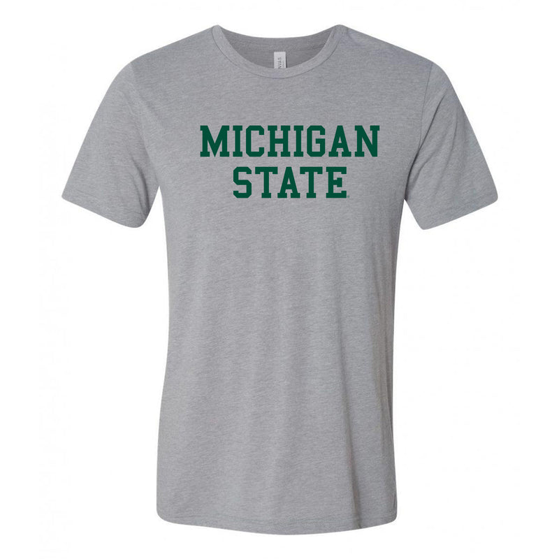 Michigan State University Spartans Basic Block Canvas Triblend T Shirt - Athletic Grey Triblend