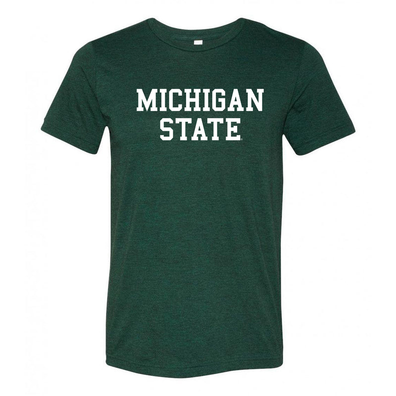 Michigan State University Spartans Basic Block Canvas Triblend T Shirt - Emerald Triblend