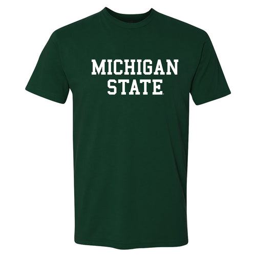 Michigan State University Spartans Basic Block Next Level Short Sleeve T Shirt - Forest Green