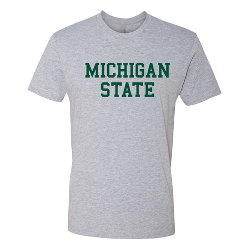 Michigan State University Spartans Basic Block Next Level Short Sleeve T Shirt - Heather Grey
