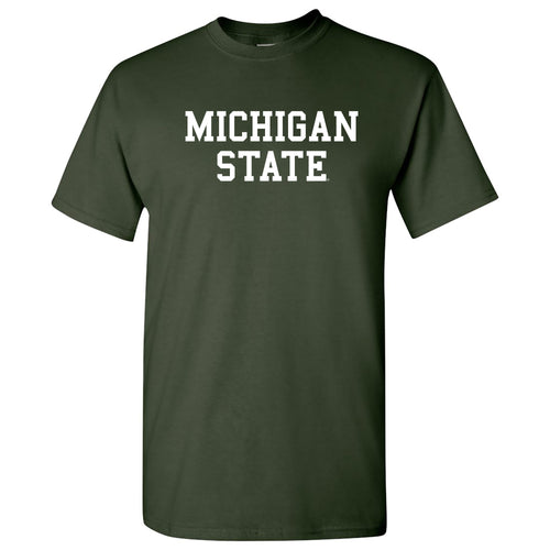 Michigan State University Spartans Basic Block Short Sleeve T Shirt - Forest