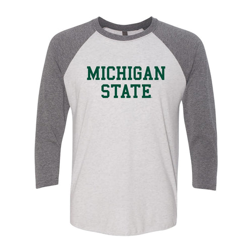 Michigan State University Spartans Basic Block Next Level Raglan T Shirt - Heather White / Premium Heather