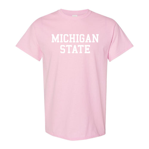 Michigan State University Spartans Basic Block Short Sleeve T Shirt - Pink