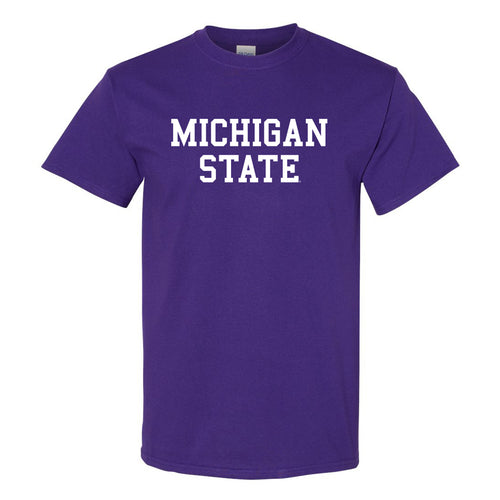 Michigan State University Spartans Basic Block Short Sleeve T Shirt - Purple