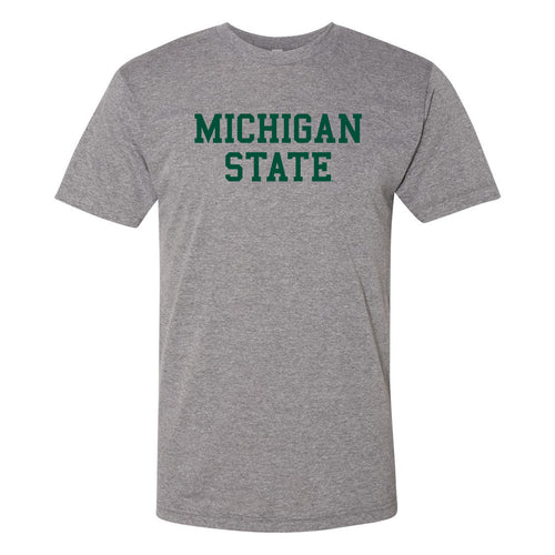 Michigan State University Spartans Basic Block American Apparel Short Sleeve T Shirt - Athletic Grey