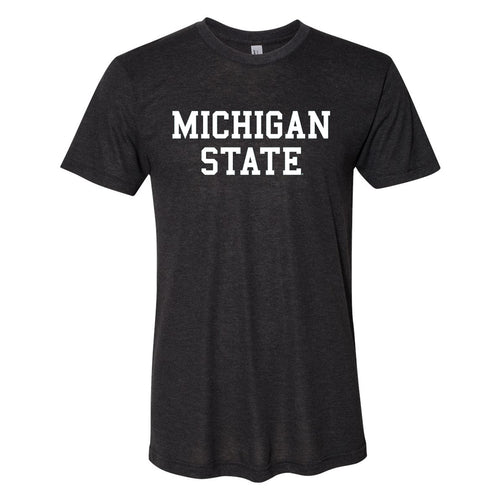 Michigan State University Spartans Basic Block American Apparel Short Sleeve T Shirt - Black