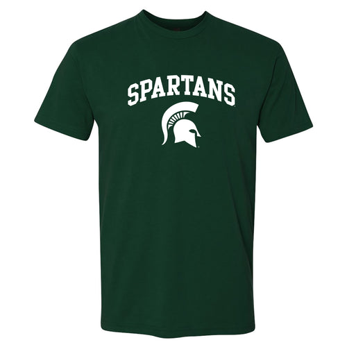Michigan State University Spartans Arch Logo Next Level Short Sleeve T Shirt - Forest Green