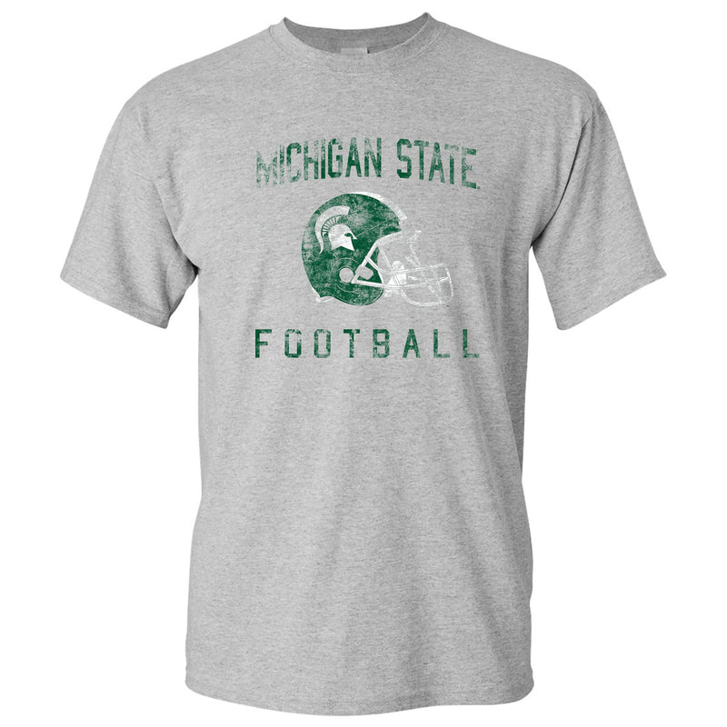 Michigan State University Spartans Faded Football Helmet Basic Cotton Short Sleeve T Shirt - Sport Grey
