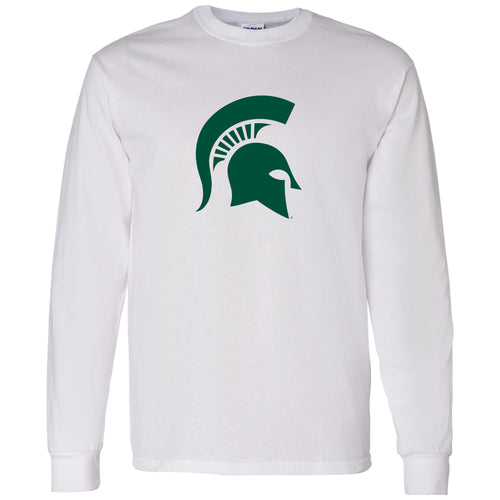 Michigan State University Spartan Logo Long Sleeve T Shirt - White