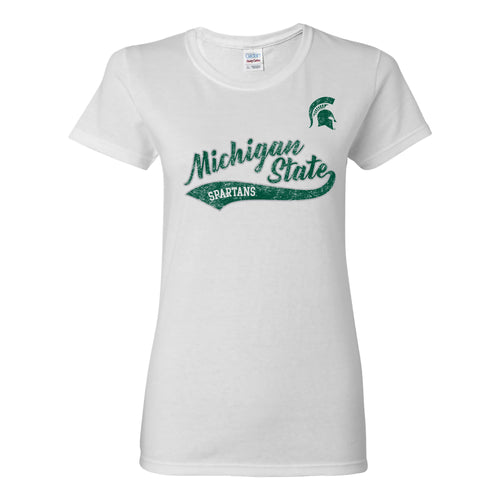 Michigan State University Spartans Tail Script Anvil Women's T Shirt - White