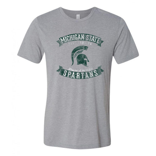 Michigan State Vintage Banners Football Canvas Triblend T Shirt - Athletic Grey Triblend