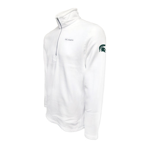 Michigan State University Spartan Logo Columbia Fleece - Green Thread - White