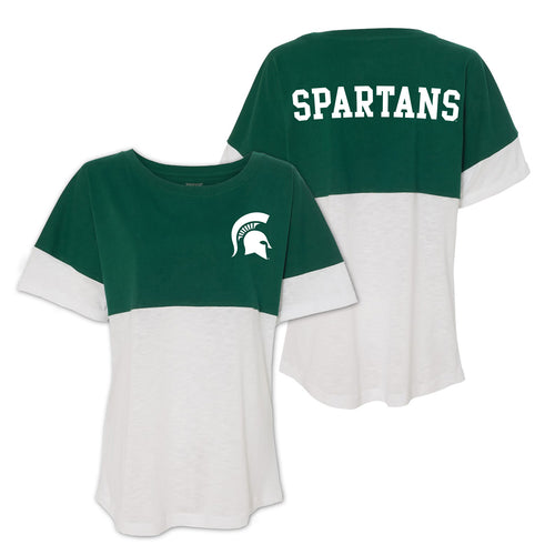Michigan State Short Sleeve Pom Jersey - Hunter/White