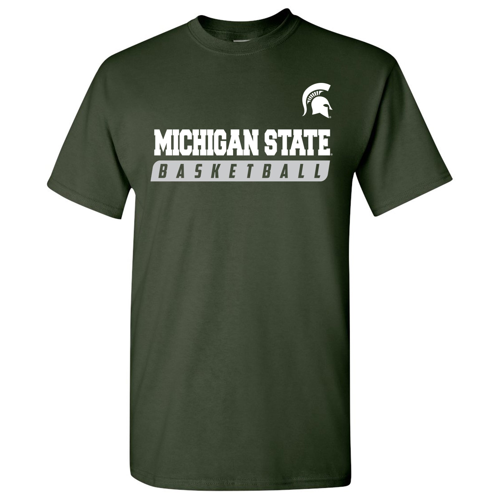 big sale 86a97 9bcf4 Michigan State University Spartans Basketball Slant Short Sleeve T-Shirt -  Forest