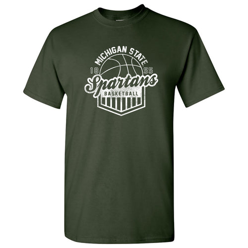 Michigan State University Spartans Basketball Shield Short Sleeve T-Shirt - Forest