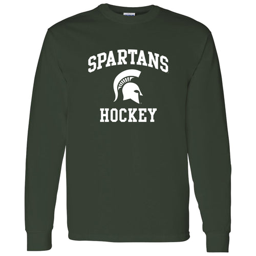 Michigan State University Spartans Arch Logo Hockey Long Sleeve T Shirt - Forest