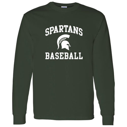 Michigan State University Spartans Arch Logo Baseball Long Sleeve T Shirt - Forest