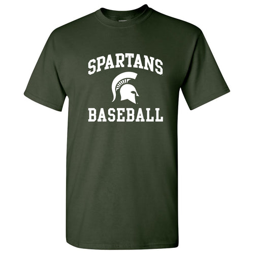Michigan State University Spartans Arch Logo Baseball Baseball Short Sleeve T Shirt - Forest