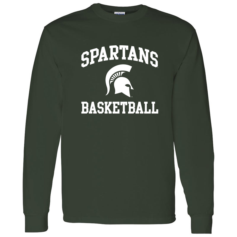 Michigan State University Spartans Arch Logo Basketball Long Sleeve T Shirt - Forest