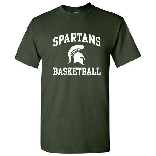 Michigan State University Spartans Arch Logo Basketball Short Sleeve T Shirt - Forest