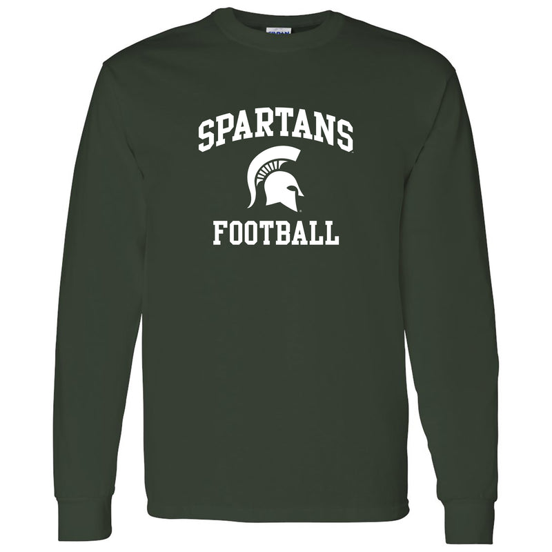 Michigan State University Spartans Arch Logo Football Long Sleeve T Shirt - Forest