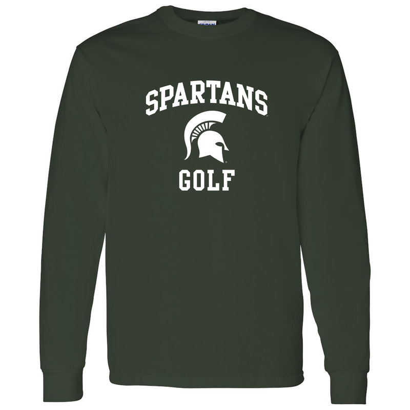 Michigan State University Spartans Arch Logo Golf Long Sleeve T Shirt - Forest
