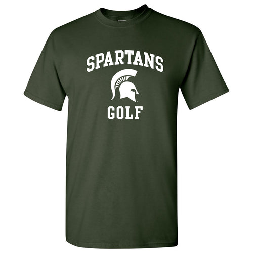 Michigan State University Spartans Arch Logo Golf Short Sleeve T Shirt - Forest