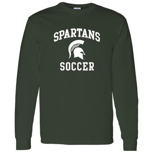 Michigan State University Spartans Arch Logo Soccer Long Sleeve T Shirt - Forest