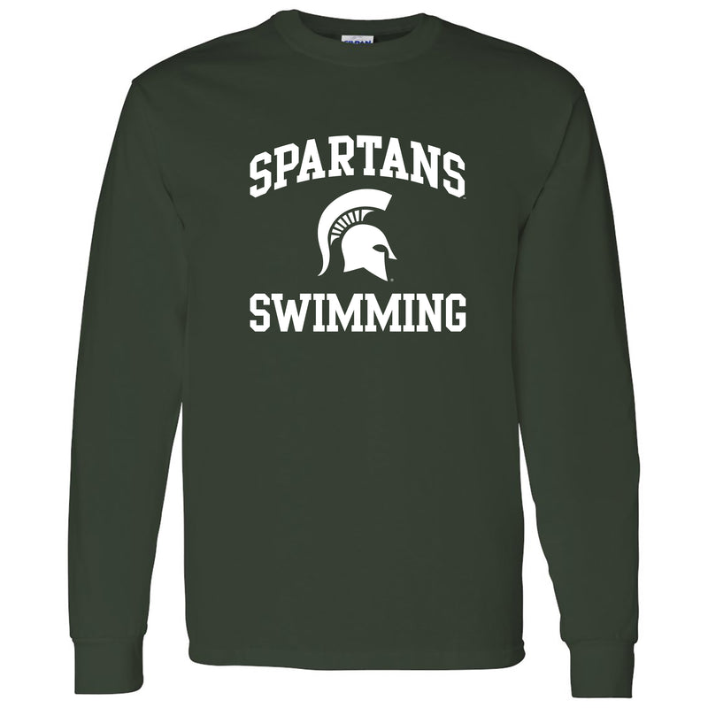 Michigan State University Spartans Arch Logo Swimming Long Sleeve T Shirt - Forest