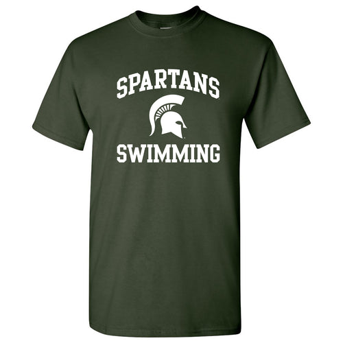 Michigan State University Spartans Arch Logo Swimming Short Sleeve T Shirt - Forest