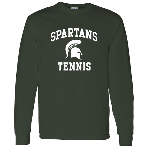Michigan State University Spartans Arch Logo Tennis Long Sleeve T Shirt - Forest