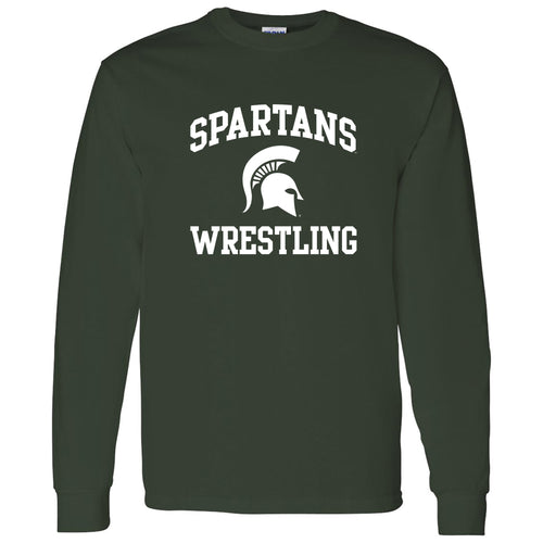 Michigan State University Spartans Arch Logo Wrestling Long Sleeve T Shirt - Forest