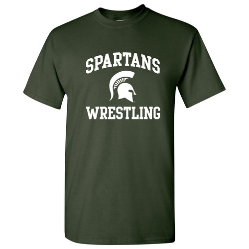 Michigan State University Spartans Arch Logo Wrestling Short Sleeve T Shirt - Forest