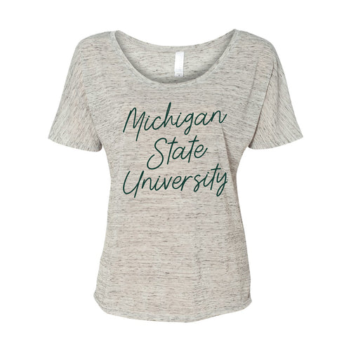 Michigan State University Spartans Sweet Script Bella Slouchy Tee - White Marble