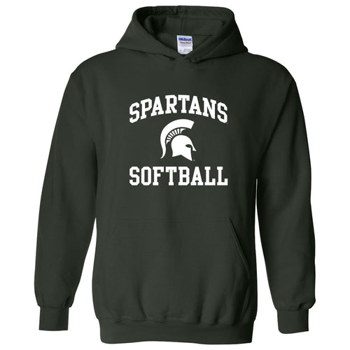Michigan State University Spartans Arch Logo Softball Hoodie - Forest
