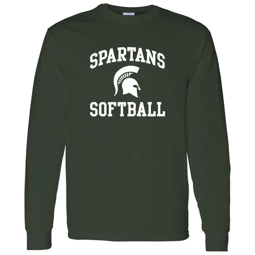 Michigan State University Spartans Arch Logo Softball Long Sleeve T Shirt - Forest