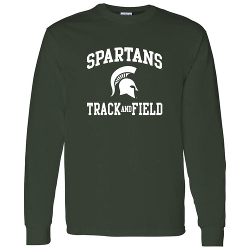 Michigan State University Spartans Arch Logo Track & Field Long Sleeve T Shirt - Forest