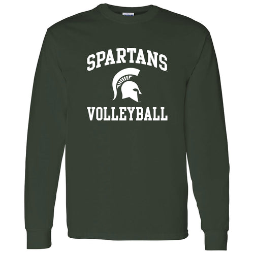 Michigan State University Spartans Arch Logo Volleyball Long Sleeve T Shirt - Forest