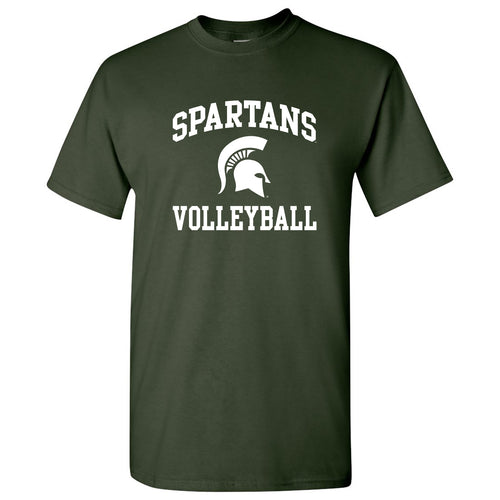 Michigan State University Spartans Arch Logo Volleyball Short Sleeve T Shirt - Forest
