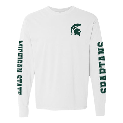 Michigan State University Spartans Left Chest and Double Sleeve Comfort Colors Long Sleeve T Shirt - White