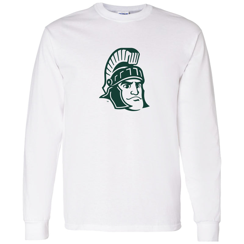 Sparty Mark Michigan State Heavy Cotton Long Sleeve T Shirt- White